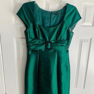 Timeles Elle Tahari Belted Emerald Cocktail Dress
